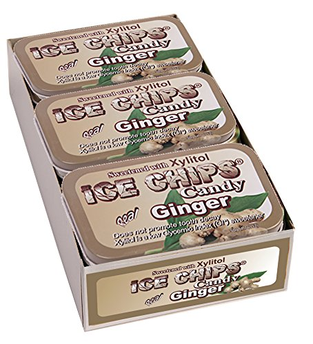 - ICE CHIPS Xylitol Candy Tins (Ginger, 6 Pack); Includes ICE CHIPS BAND as shown