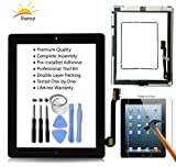 Sunny Original iPad 3 Screen Replacement Touch Screen Glass Assembly (Original Black) - Includes Home Button Camera Holder Pre Installed Adhesive Stickers Bezel Frame and Professional Tool Kit