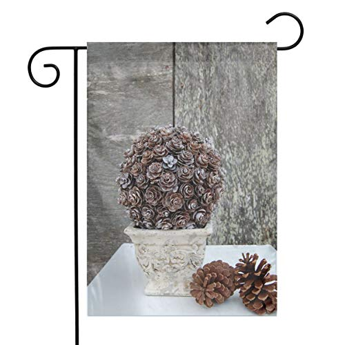 (OLGCZM Pinecone Topiary Home Flag,Weather Fade Resistant Garden Welcome Flags for Party Yard Outdoor Decor,12x18 Inches)