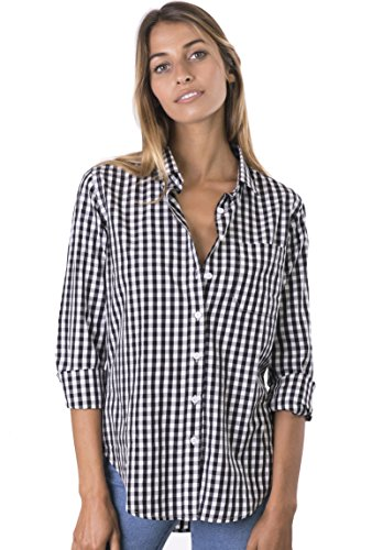 Check Cotton Blouse (CAMIXA Women's Gingham Checkered Casual Button-Down Shirt Go Preppy L Black/White)