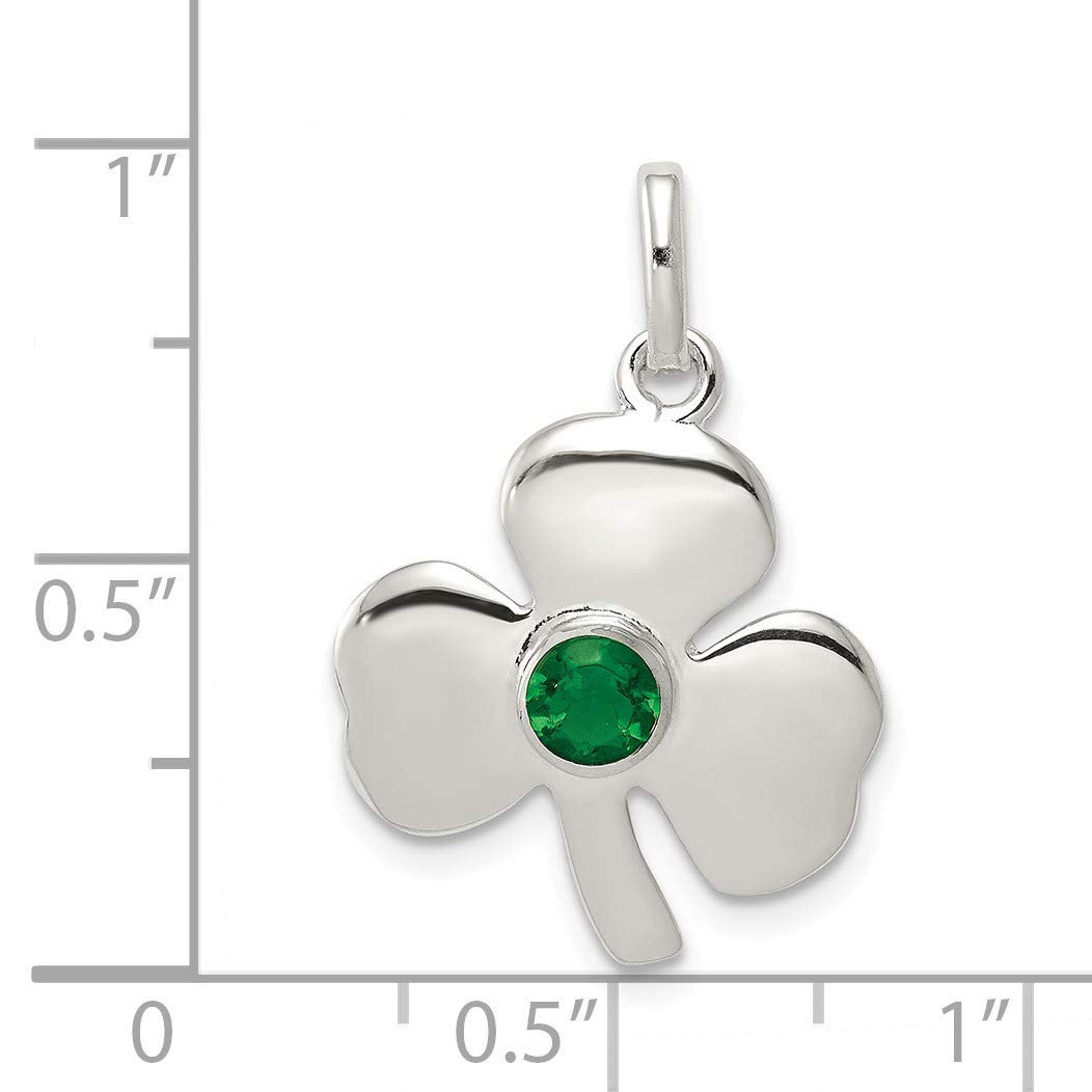 Bonyak Jewelry Sterling Silver Clover with Green Glass Charm