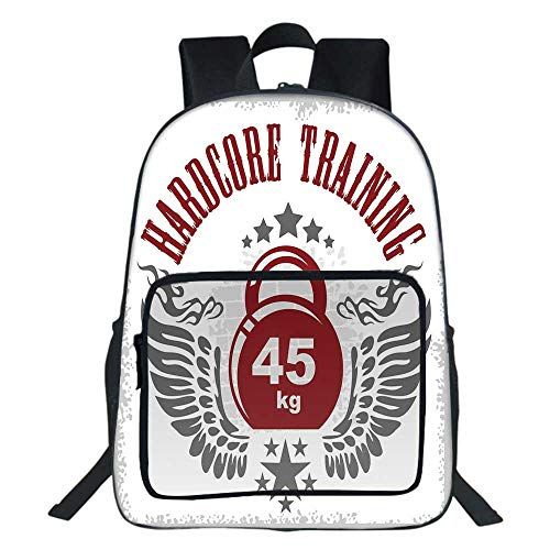 - Fitness School Bag,Bodybuilding Themed Emblem in Vintage Style Hardcore Training Wings Stars For Teens Girls Boys ,11.8