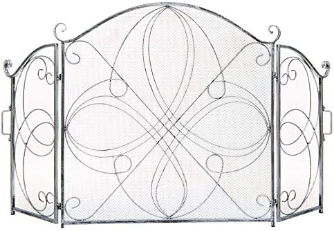 Best Choice Products 3-Panel 55x33in Solid Wrought Iron See-Through Metal Fireplace Screen, Spark Guard Safety Protector w/Decorative Scroll - Pewter