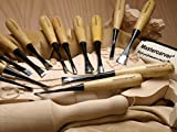 13pc Mastercarver Starter Wood Carving Tools Set Canvas Roll 401003 with Ramelson Rock Maple Mallet