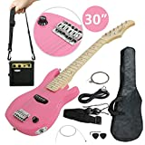 Smartxchoices 30'' Inch Kids Electric Guitar With 5W Amp Cable Cord shoulder Strap Holiday Gift (Pink)