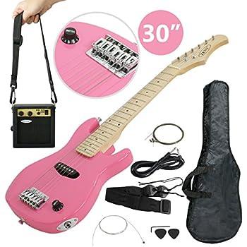 zeny 30 39 39 electric guitar set beginner kits for kids with gig bag cable strap pink. Black Bedroom Furniture Sets. Home Design Ideas