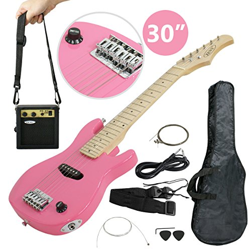 Smartxchoices 30″ Inch Kids Electric Guitar With 5W Amp Cable Cord shoulder Strap Holiday Gift (Pink)
