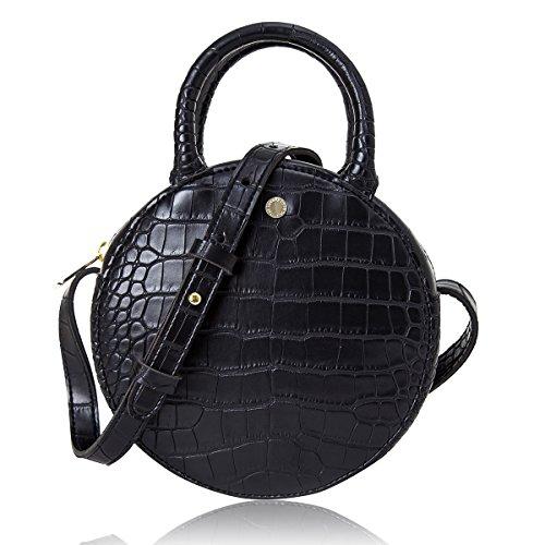 The Lovely Tote Co. Women's Fashion Crocodile Circle Crossbody Bag (Mini, ()