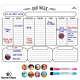 Weekly Dry Erase Board Calendar- Magnetic Weekly Calendar for Refrigerator Stain Resistant Nano Technology. Free 2 Fine Point Magnetic Markers with Eraser, 10 Magnetic Icons White 16 inch X 12 inch