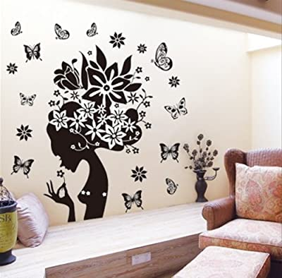 DGI MART Girl Black Flowers Butterflies Design Removeable Wall Decor Decals Wall Decorative Stickers Great for Biology Classroom Handicraft Lessons Classroom Children Playroom Wall Decorations