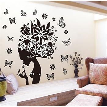 Butterflies Wall Decal Girl Black Flowers Removable Vinyl Art Sticker