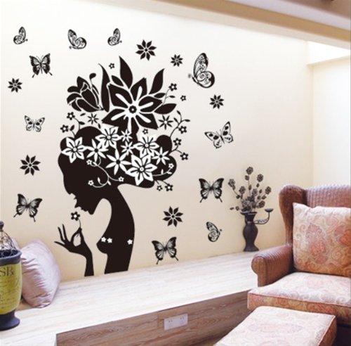 DGI MART Girl Black Flowers Butterflies Design Removeable Wa