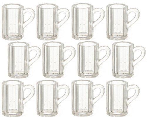1:12 Scale 12 Pc Clear Beer Mugs SET #Fa40293