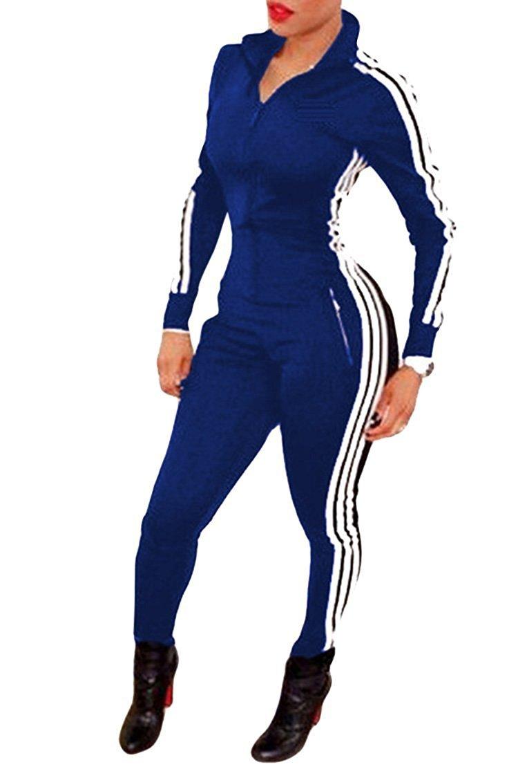 Tomwell Damen Jumpsuit Sport Jogging Anzug Trainingsanzug Overall Lange Ärmel Reißverschluss Bodycon Romper JQYQ17831-DE04