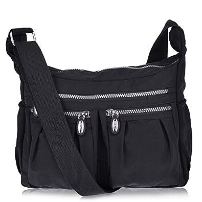 Vbiger Women Casual Multi Pockets Waterproof Shoulder Bag (Black ...