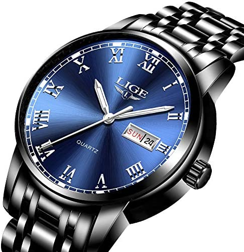 LIGE Men s Stainless Steel Waterproof Sport Analog Quartz Watch Gents Blue Dial Date Fashion Casual Dress Wrist Watches
