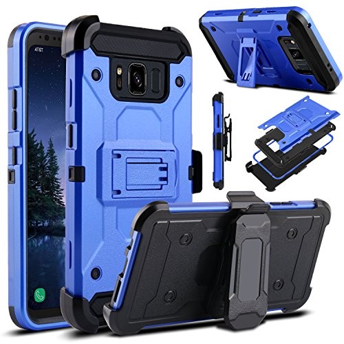 Galaxy S8 Active Case, Venoro Heavy Duty Armor Shockproof Rugged Protection Case Cover with Belt Swivel Clip and Kickstand for Samsung Galaxy S8 Active 5.8 2017 Release (Light Blue)