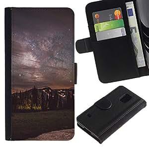 All Phone Most Case / Oferta Especial Cáscara Funda de cuero Monedero Cubierta de proteccion Caso / Wallet Case for Samsung Galaxy S5 V SM-G900 // Milky Way Night Sky Mountains