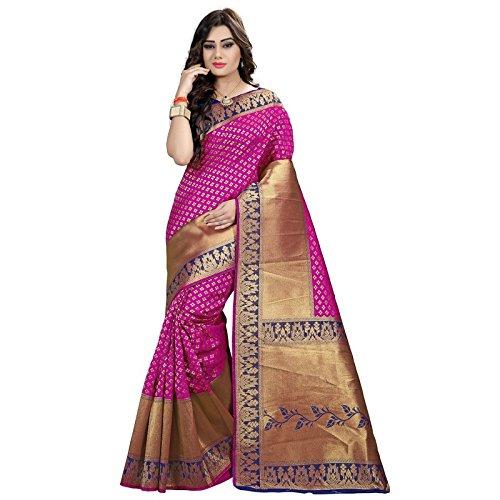 f5f342585c983 Inheart Banarasi Silk Sarees Zari Work Fancy Sarees for Women with  Unstitched Blouse Piece Poly Silk