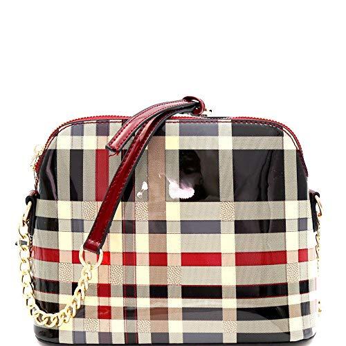 - Patent Plaid Checker Print Dome-Shaped Cross Body Bag