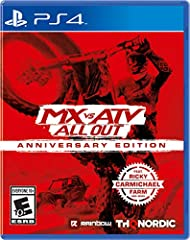 The complete off-road racing experience just added a staggering 14 additional tracks! MX vs ATV All Out: Anniversary Edition includes the three add-ons Ricky Carmichael Farm, Hometown MX Nationals and Slash's Snakepit! All of this plus the bi...