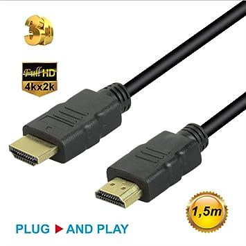 SUNSEATON Cable HDMI Macho a Macho,1080P Cable HDMI para TV/PC/DVD/Proyectores/Consolas de Juegos/Cajas Digitales/Monitor (1.5M): Amazon.es: Electrónica