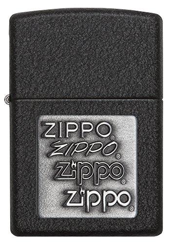 Zippo Black Crackle Emblem Lighters
