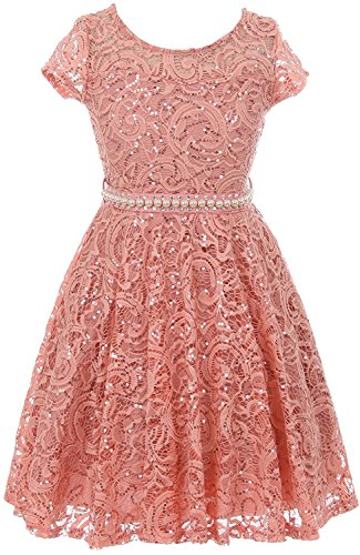 (iGirldress Cap Sleeve Floral Lace Glitter Pearl Holiday Party Flower Girl Dress Rose Size 8)