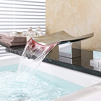 Dr Faucet Deck Mount Widespread LED Waterfall Bathroom Bath Tub Faucet Dual Handle Three Holes 6.3 Inch Wide Spout, Polished Chrome Finished