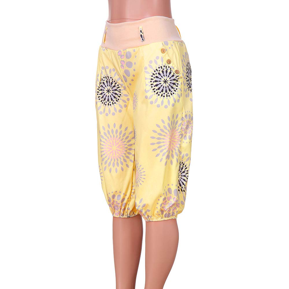 UONQD Womens Ladies Not Positioned Printing Dot Floral Trousers Bloom Pants