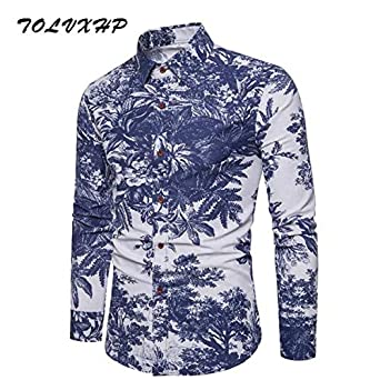 25152368d4 Men Shirt Long Sleeve Slim Fit Floral Print Mens Dress Shirts Formal ...