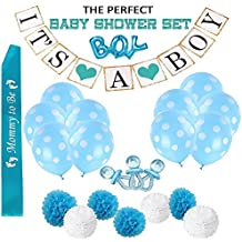 """Baby Shower Decorations for Boy,30pcs """"It's a Boy"""" Banner, A Mommy To Be Sash, 1 Big Boy Foil Balloon,4 Blue 3 White Pom-Poms,10 Polka Dot Balloons & 10 Mini Acrylic Baby Pacifiers"""