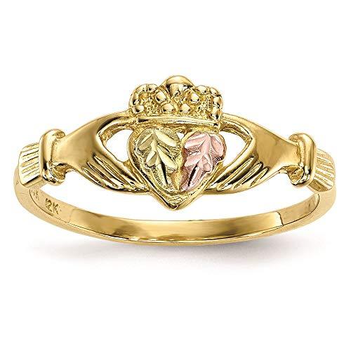 10K Tri Color Gold 18.66 MM Black Hills Gold Claddagh Ring, Size 7