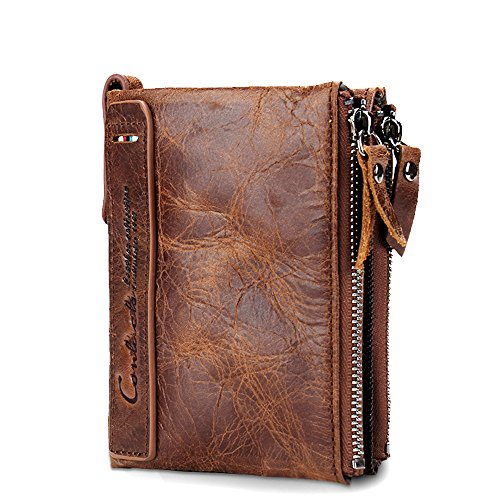 Mynos Genuine Crazy Horse Cowhide Leather Men Wallet Short Purse Small Vintage (Brown)