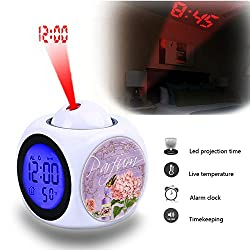 Projection Alarm Clock Wake Up Bedroom with Data and Temperature Display Talking Function, LED Wall/Ceiling Projection,Customize the pattern-668.Parfum, Vintage, Collage, Elegant, Flowers, Rose, Bird