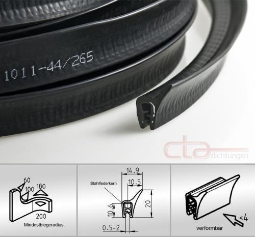 CTA Dichtungen 5 Meter Dichtprofil Kofferraumdichtung Kederband EPDM KB 1-4 1C11-23