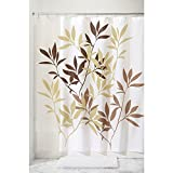 Brown Curtains InterDesign Leaves Fabric Shower Curtain 72 x 72, Brown