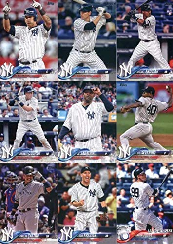 New York Yankees 2018 Topps Complete Mint Hand Collated 32 Card Team Set with 4 Different Aaron Judge Cards plus a Rookie Card of Miguel Andujar plus Gary Sanchez and Others