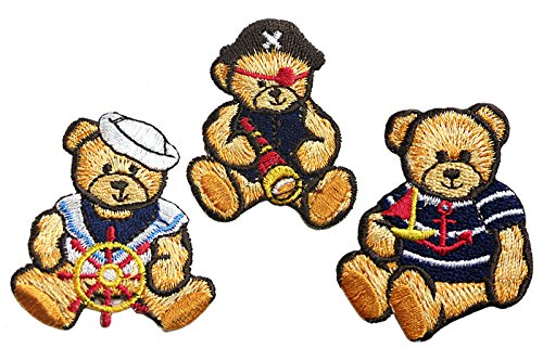 Altotux Nautical Sailor Pirate Cute Teddy Bear Embroidery Iron On Patch Applique (Nautical Bear)