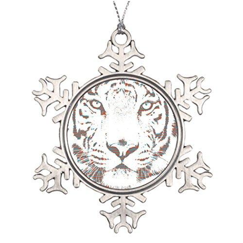 White Marionette Snow - Christmas Snowflake Ornaments Personalised Christmas Tree Decoration White Tiger Digital Pop Art Garden Snowflake Ornaments