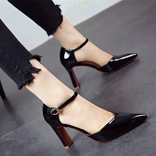 profonda l'estate tacchi sandali brevetto lady a appuntita bocca party poco cuoio sexy di europea primavera e scarpe FLYRCX ruvida IqCxwTEA0