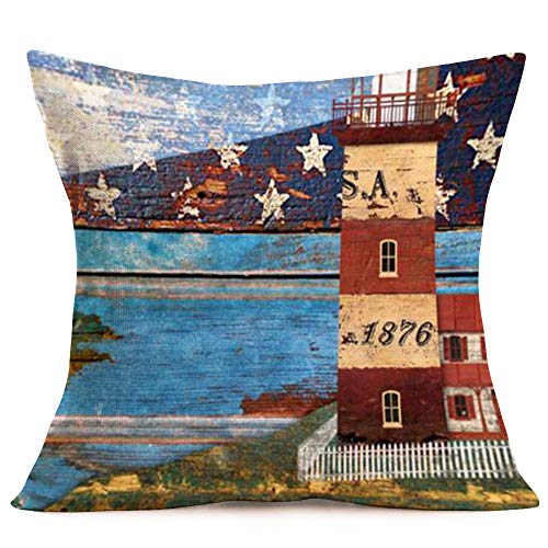 Retro Illustration Lighthouse on Calm Seashore with Retro Colorful Wood Panel Cotton Linen Beach Throw Pillow Case Cushion Cover American Flag Star Decorative Square 18