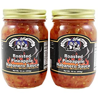 Amish Wedding Roasted Pineapple Habanero Sauce, 16 Ounce Glass Jar (Pack of 2)