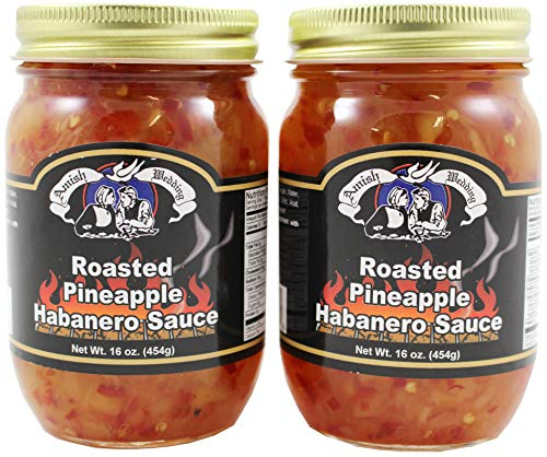 Amish Wedding Roasted Pineapple Habanero Sauce, 16 Ounce Glass Jar (Pack of 2)