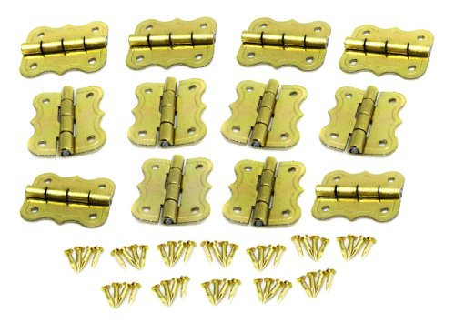 12pc. Small Butterfly-Style Brass-Plated Box Hinges Butterfly Plated Hinges