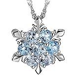 M-Egal Women's Natural Stone Necklace Crystal Silver Plating Snowflake Style Pendant dark blue 2cm(pendant), 45cm+5cm(chain)