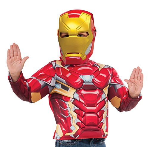 [Marvel Captain America-Civil War Iron Man Deluxe Costume Top Set] (Iron Man Shirt And Mask Costumes)