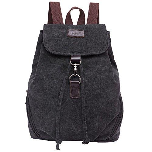 Ankena Canvas Backpack Casual Daypack for Girls&Women Drawstring Shoulder Bag Black