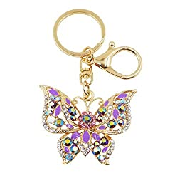 Butterfly Keychain With Rhinestones