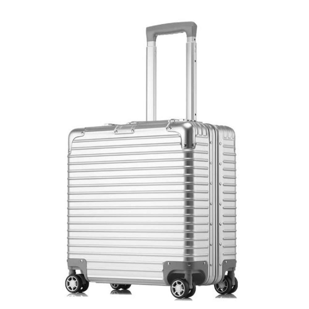 スーツケーストロリーキャリーキャリー荷物ハードシェルトラベルバッグライトウェイト4回転ホイール防水、通気性、耐摩耗性、耐衝撃性 22.6*40.5*41.8CM B07SJF58TX Silver